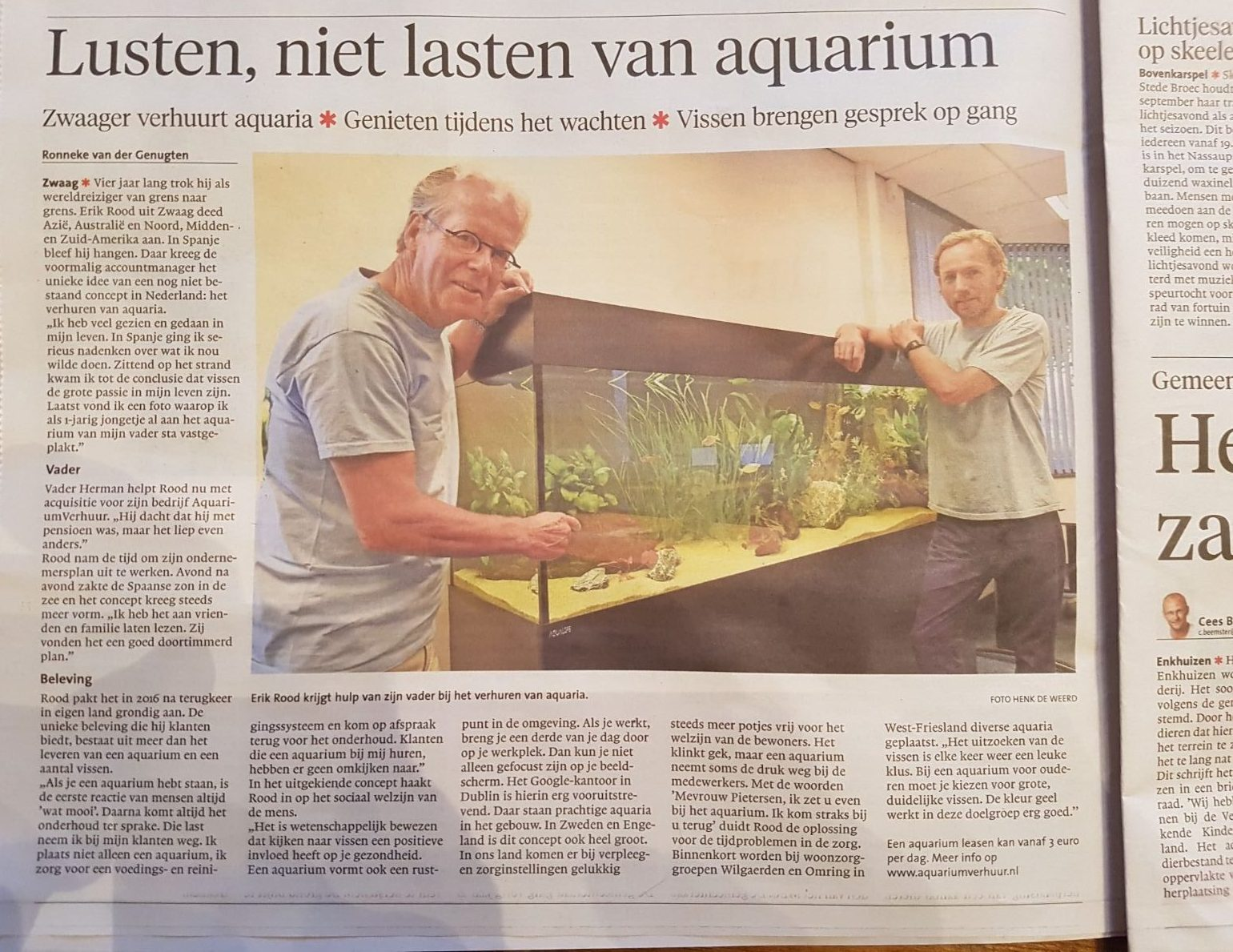 Aquariumverhuur in Noord-Hollands Dagblad