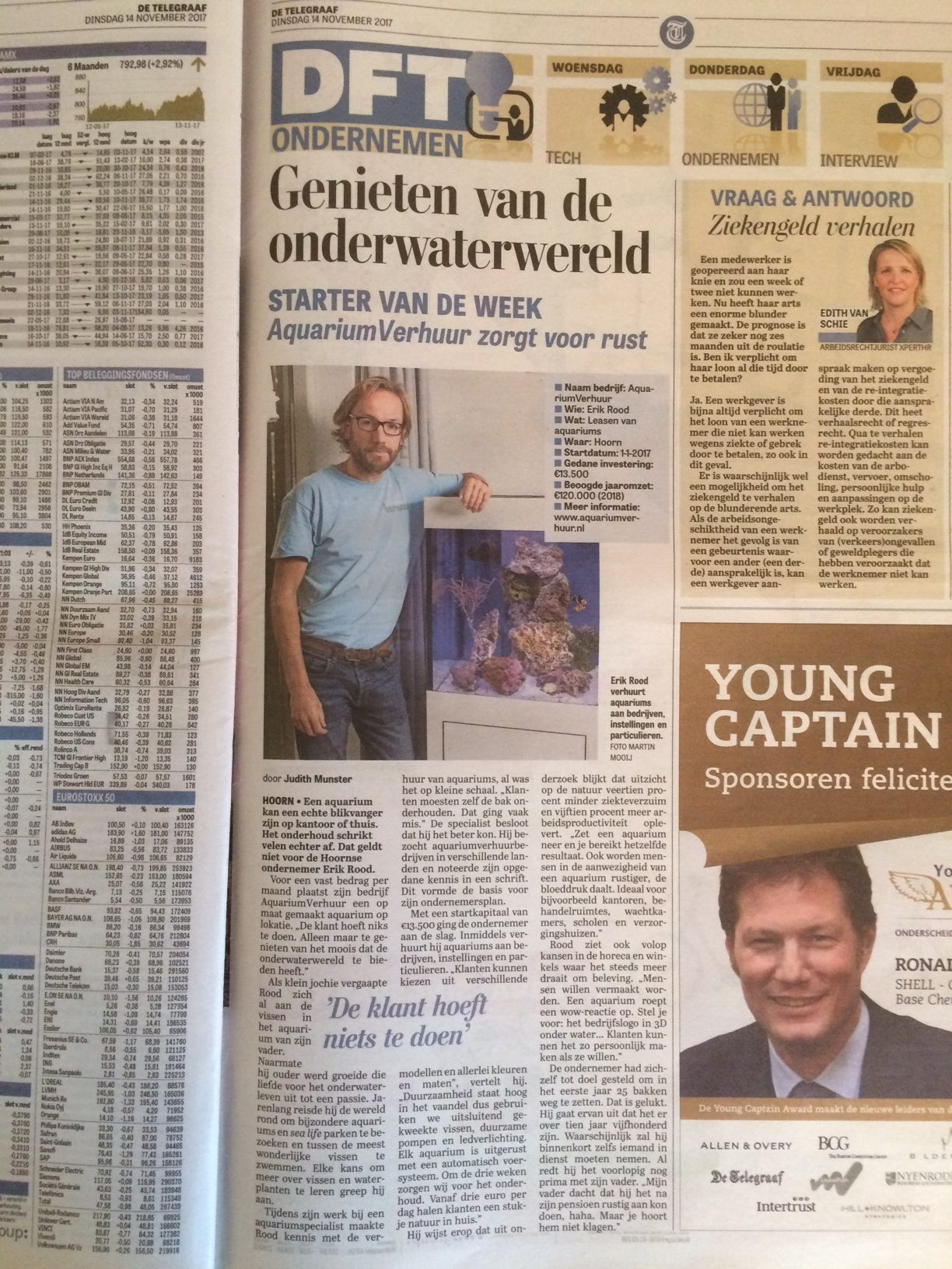Aquariumverhuur in Telegraaf