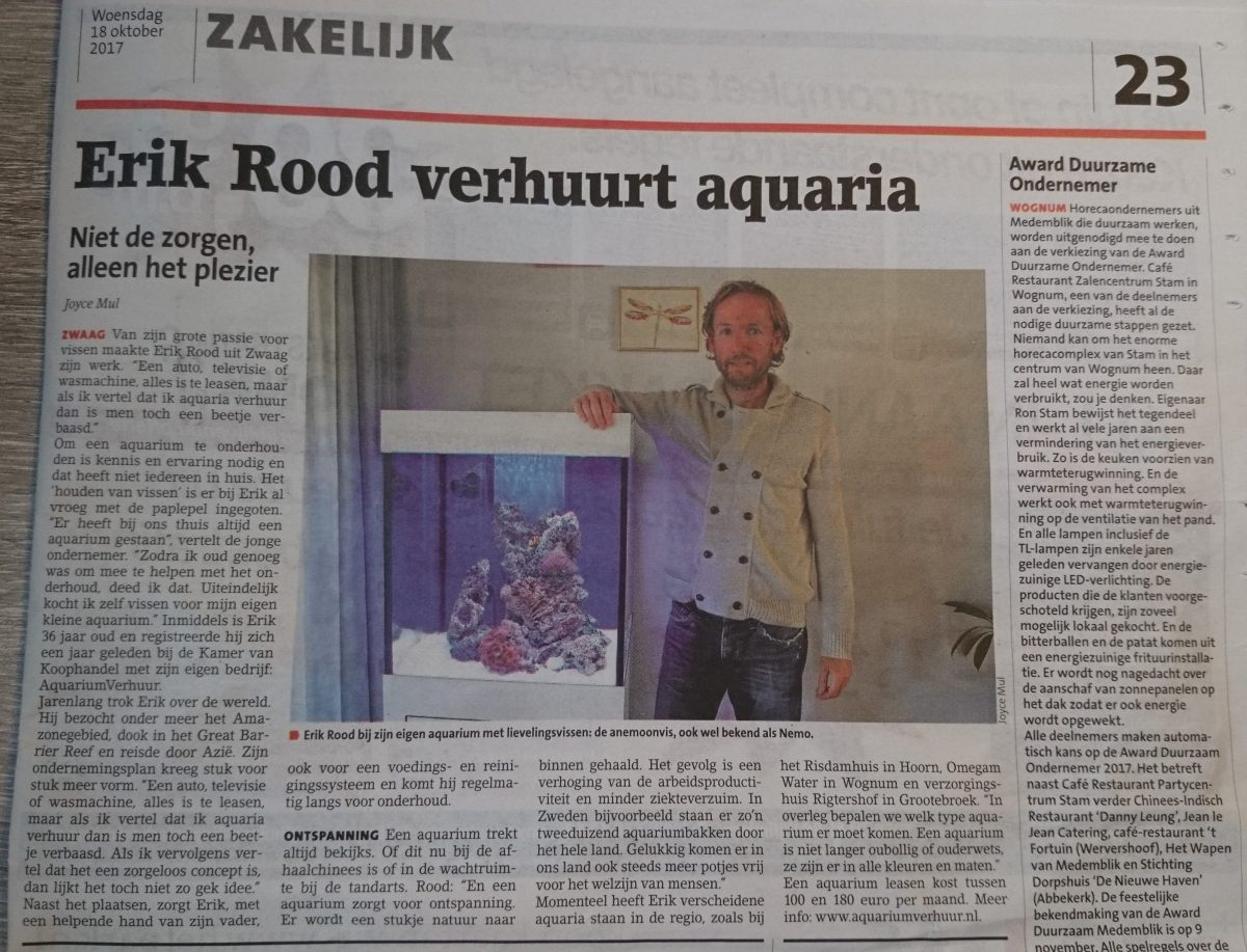 Aquariumverhuur in Westfries Weekblad